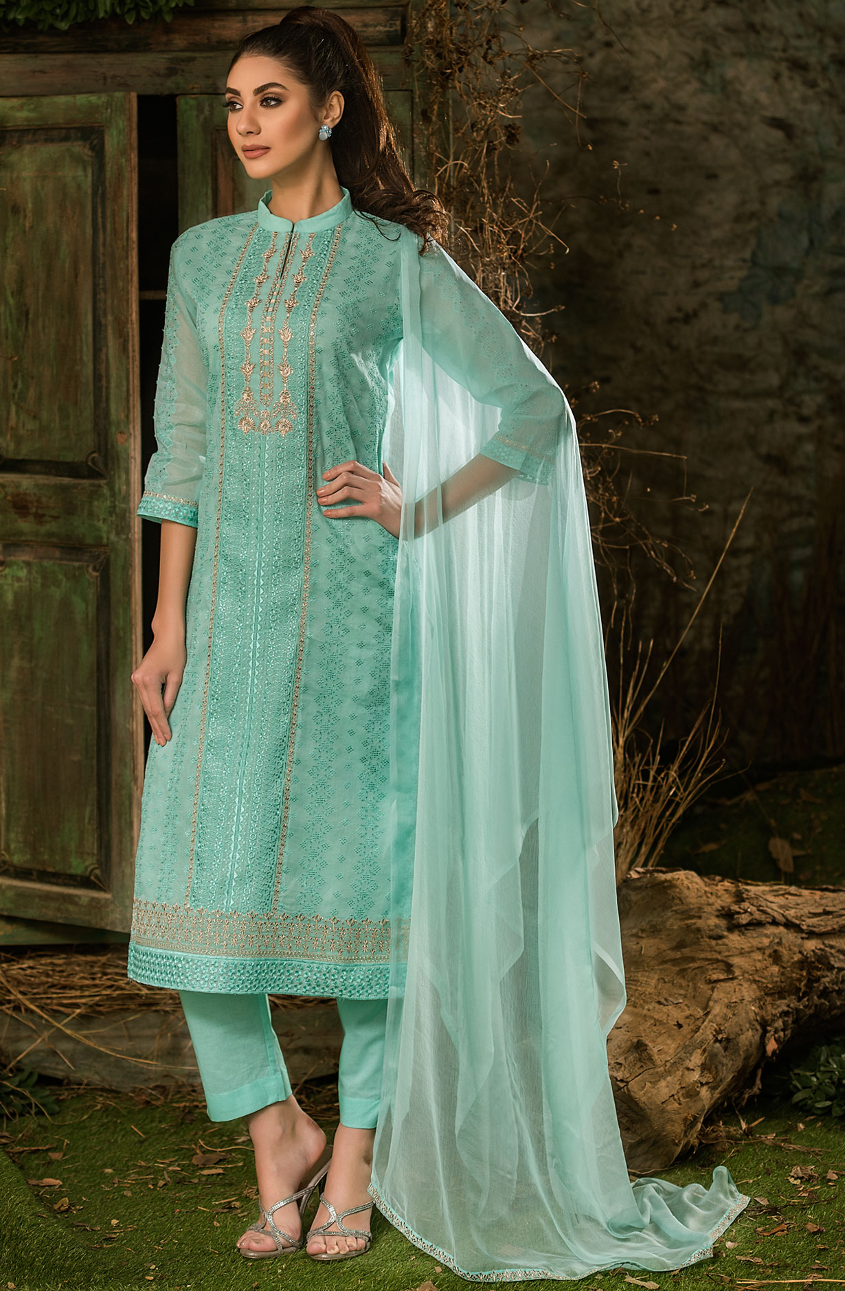 06570aa3d6c Cotton Embroidered Sea Green Shalwar Kameez Dupatta with Zari Work ...