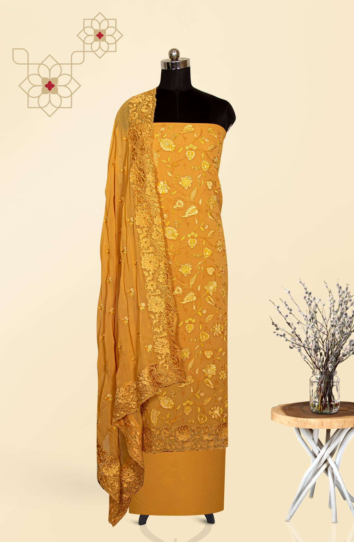 Georgette Beautiful Embroidered Suit Set in Mustard - S151-1235AB