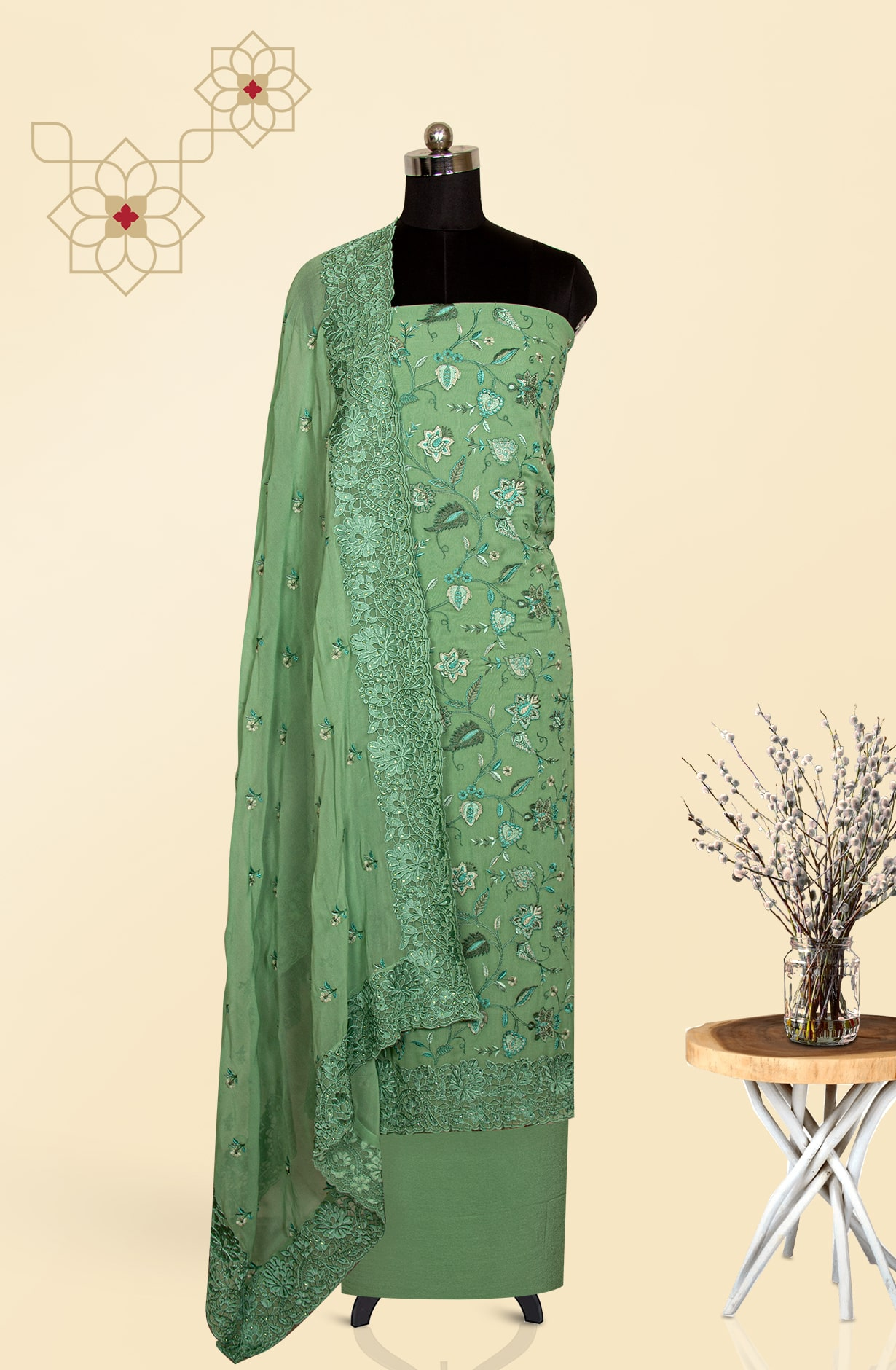 Georgette Beautiful Embroidered Suit Set in Green - S151-1235AD