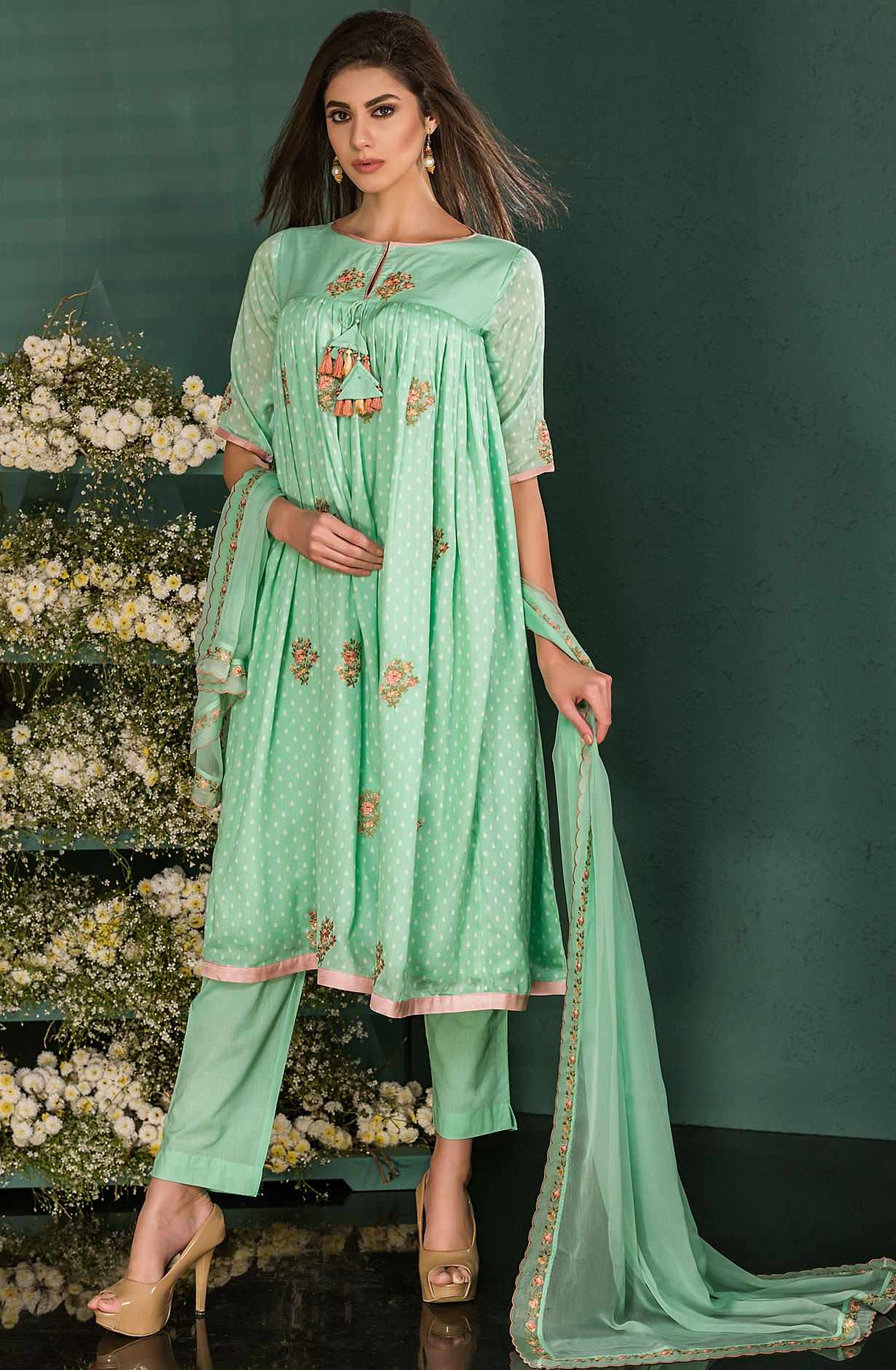 45c99416438 Green Cotton Digital Print Salwar Kameez with Beautiful Floral Embroidery