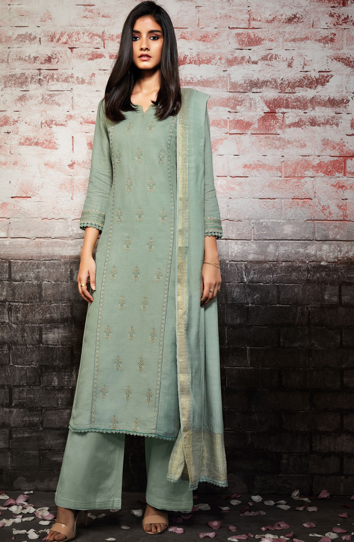 f615d645d38 Embroidery Cotton Ready-to-Stitch Salwar Kameez In Pastel Green ...