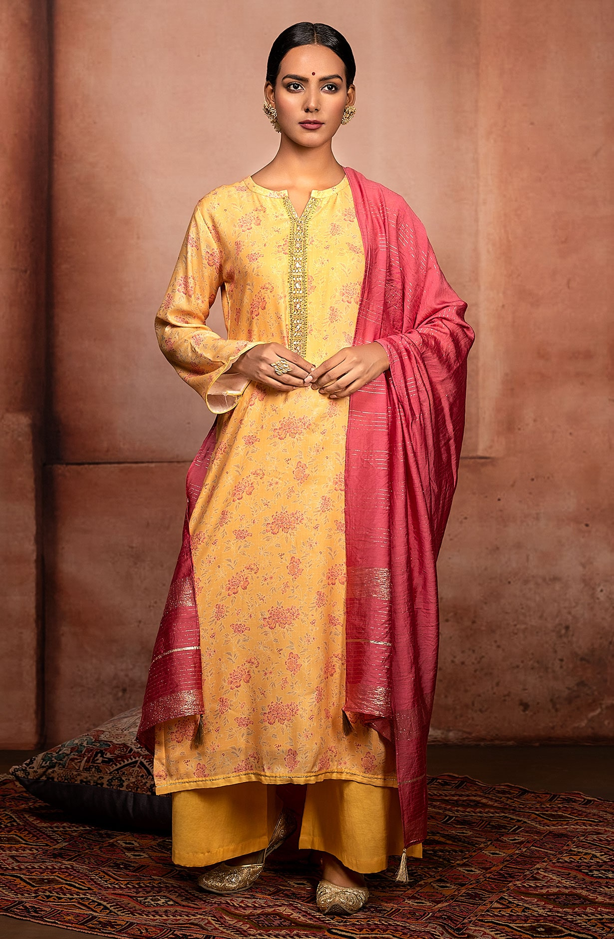 Yellow Modal Cotton Unstitched Suit with Muslin Silk Dupatta - SOH9127A