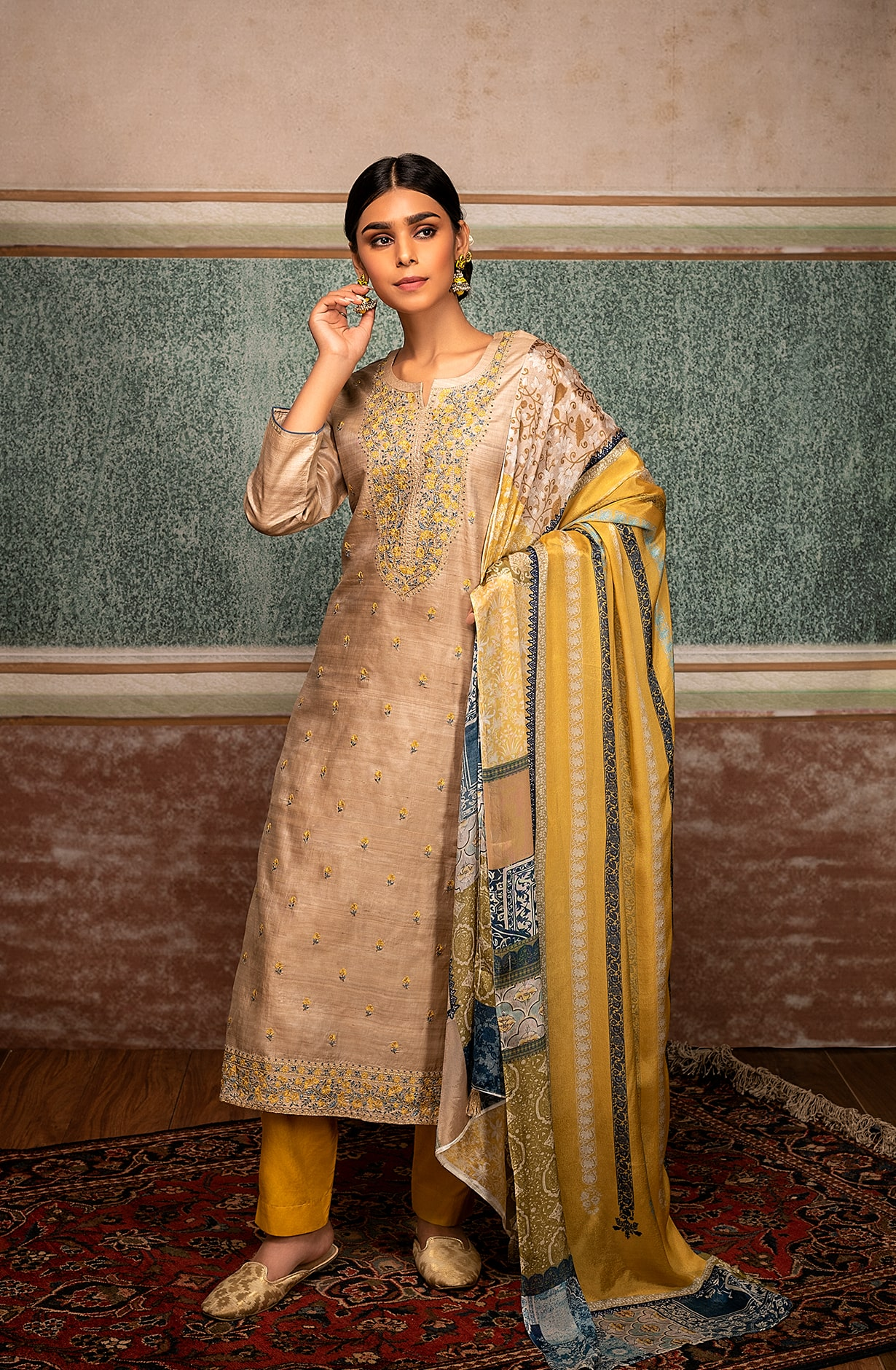 Pure Tussar Silk Exclusive Beige Unstitched Suit - TAA9242