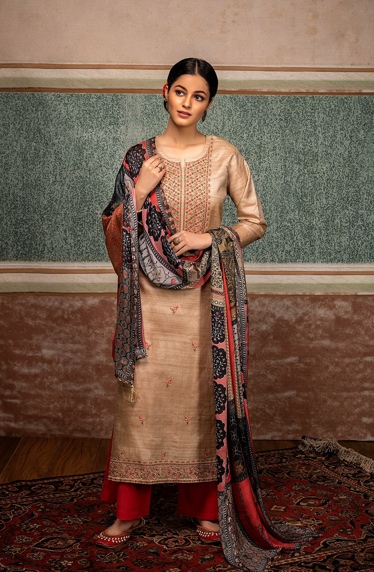 Pure Tussar Silk Exclusive Beige Unstitched Suit - TAA9243
