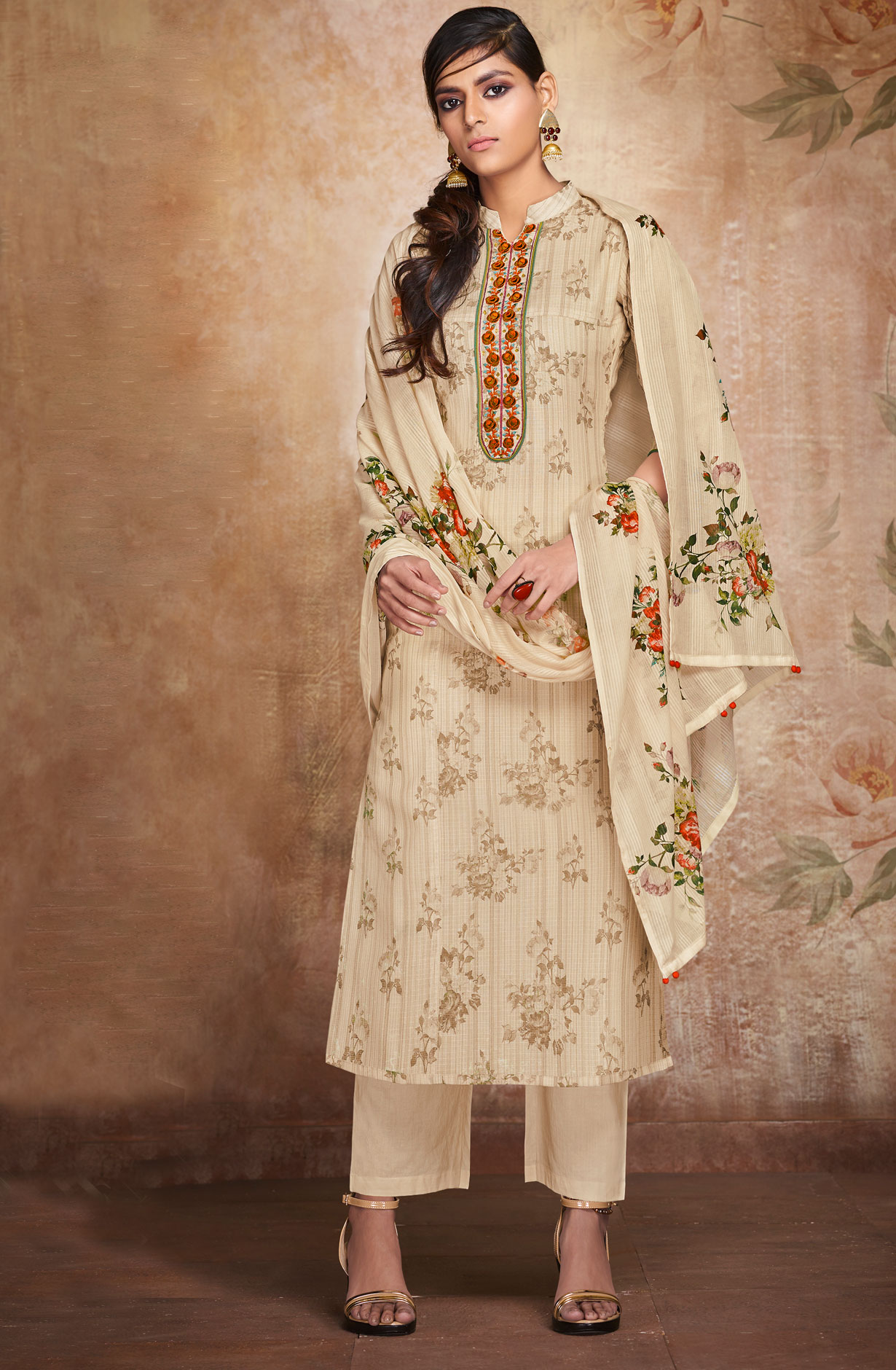 b4651f01644 Kota Cotton Beige Floral Print with Embroidery Suit Sets