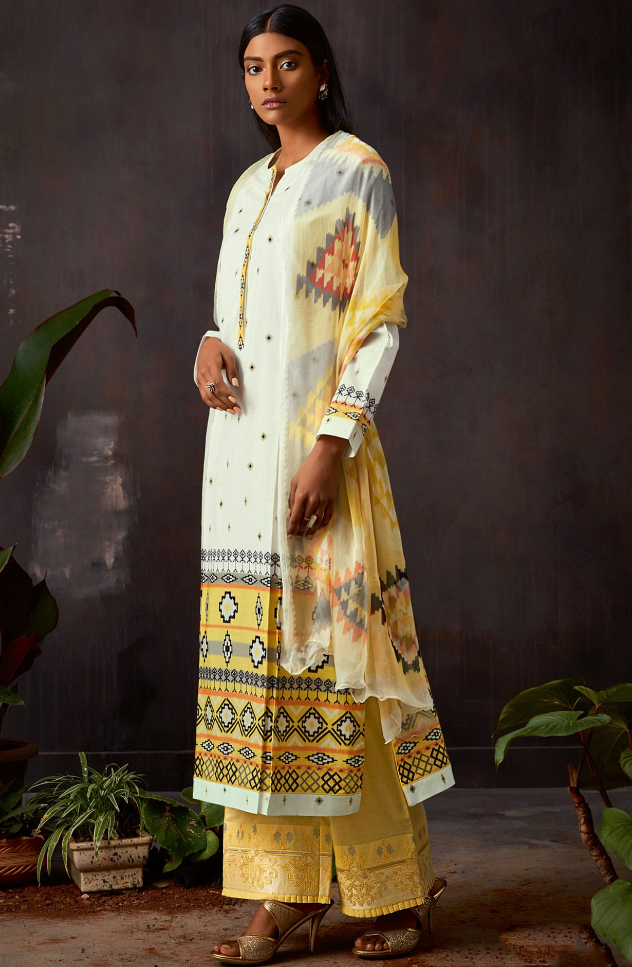 52d4867d673 Cotton Digital Printed Kameez with Embroidery Salwar In Cream   Yellow