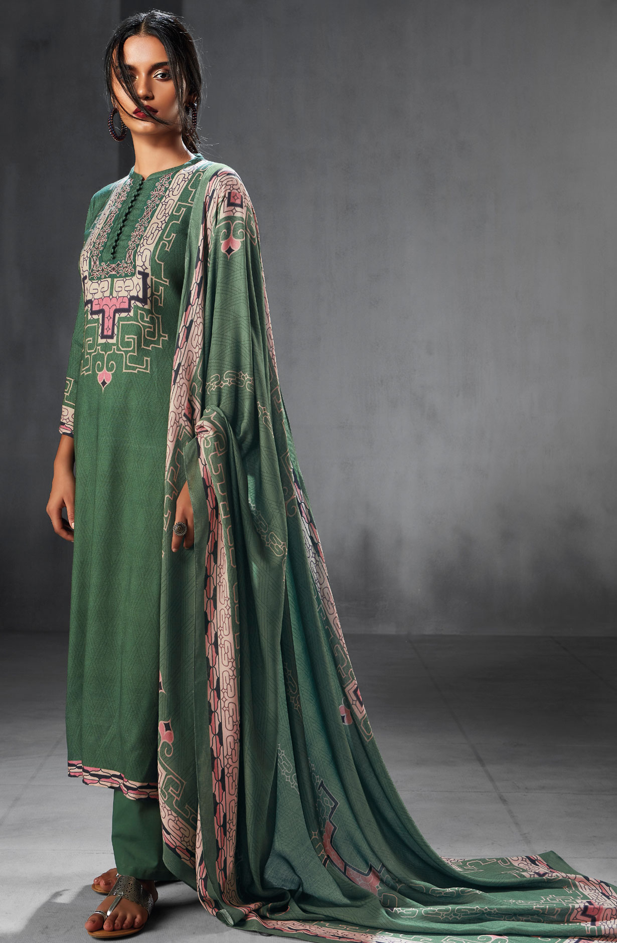698793eca6 Pashmina Wool Winter Collection Digital Printed Salwar Suits In Bottle  Green | WHI6538
