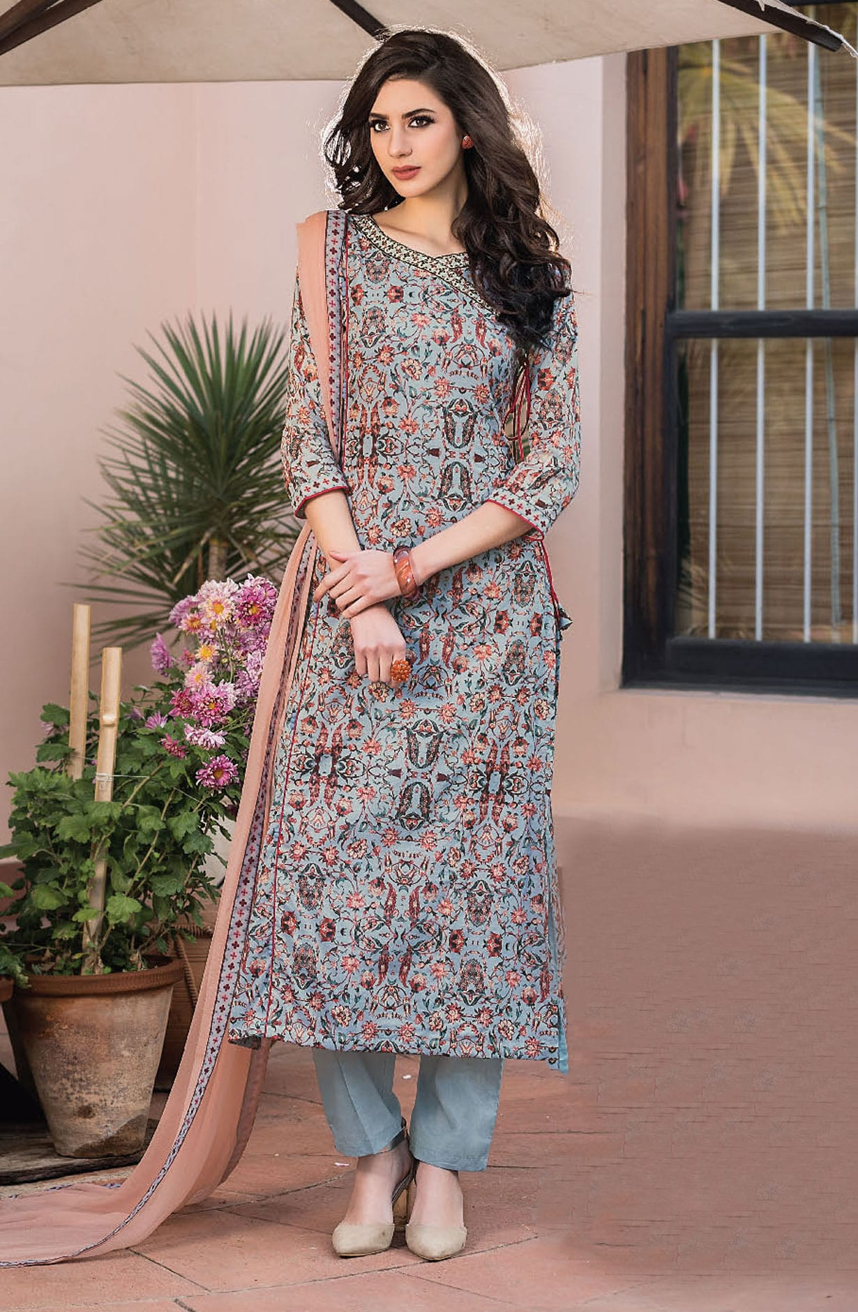 Ready To Stitch Floral Digital Print Grey Cotton Suits Dress