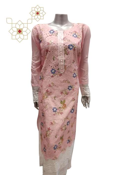 Cotton Digital Print with Chikankari Work Suit Sets in Pink - 117-1843A