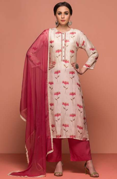 Digital Print with Embellished Modal Cotton Semi-Stitched Salwar Suit Sets In Cream & Pink - 131-NZ5001