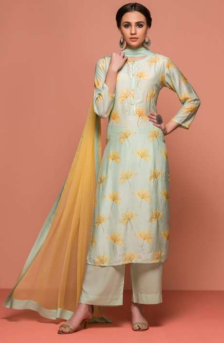 Digital Print with Embellished Modal Cotton Semi-Stitched Salwar Suit Sets In Sea Green - 131-NZ5002