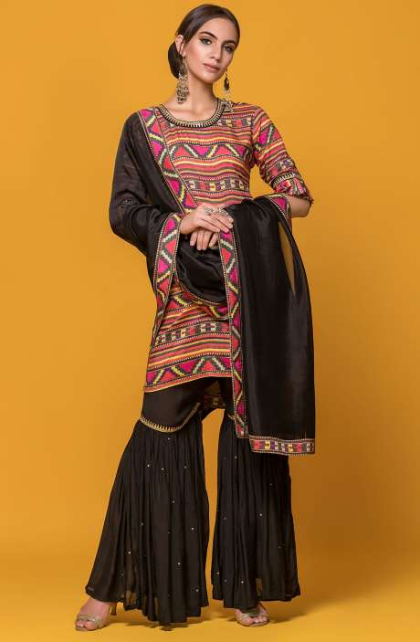 Wedding Collection Exclusive Partywear Multi and Black Sharara Style Stitched Suit - 131-6006