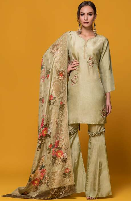 Wedding Collection Exclusive Partywear Mehndi Green Sharara Style Stitched Suit - 131-6011