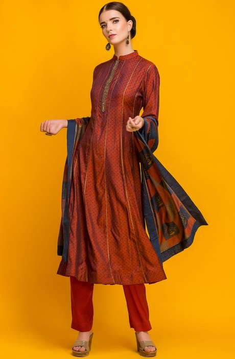 Designer Ready-to-Wear Exclusive Cotton Satin Kameez with Unstitched Salwar In Maroon - 131-7022A