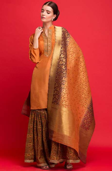 Semi-formal Exclusive Designer Orange Sharara Style Ready-to-Wear Suit - 131-7045A