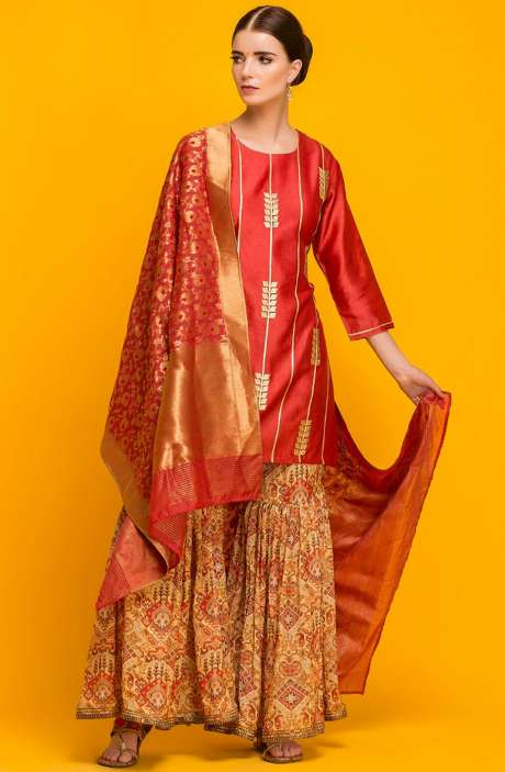 Semi-formal Exclusive Designer Maroon Sharara Style Ready-to-Wear Suit - 131-7055
