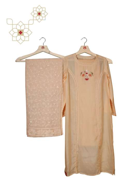 Silk Readymade Cream Salwar Suit Set with Beautiful Chiffon Dupatta - 131-MT3797