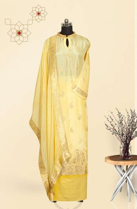 Semi-stitched Exclusive Russian Silk Salwar Suit Set In Yellow - 131-MT4085