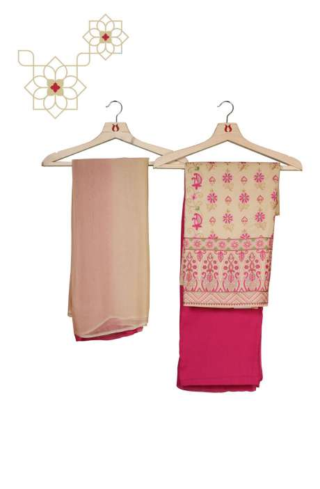 Organdy Cotton Beautiful Embroidered Salwar Kameez in Beige & Pink - 131-RC20-011