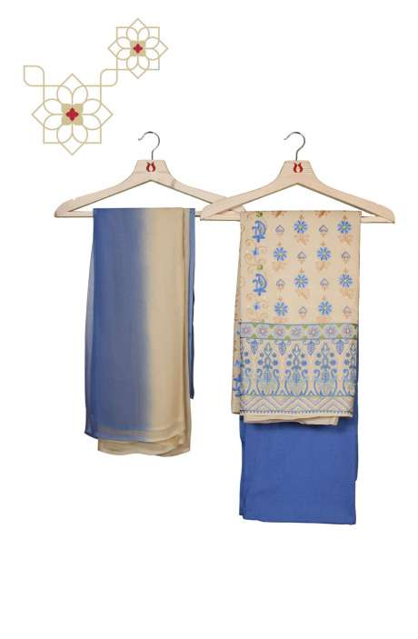 Organdy Cotton Beautiful Embroidered Salwar Kameez in Beige & Blue - 131-RC20-011A