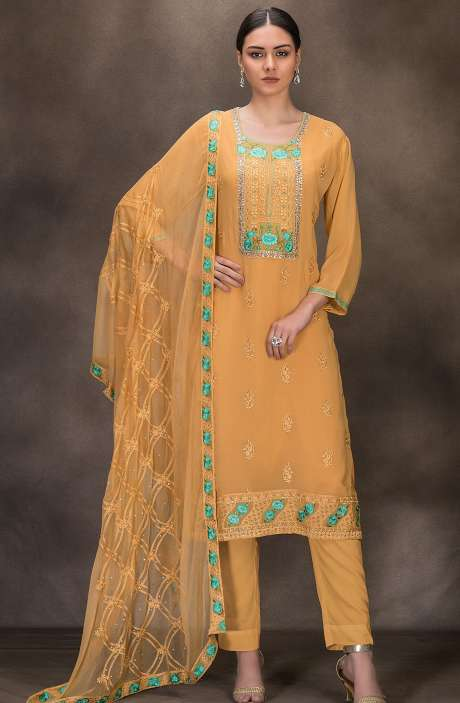 Designer Georgette Embroidered Salwar Kameez In Mustard Yellow- 131-RC4060