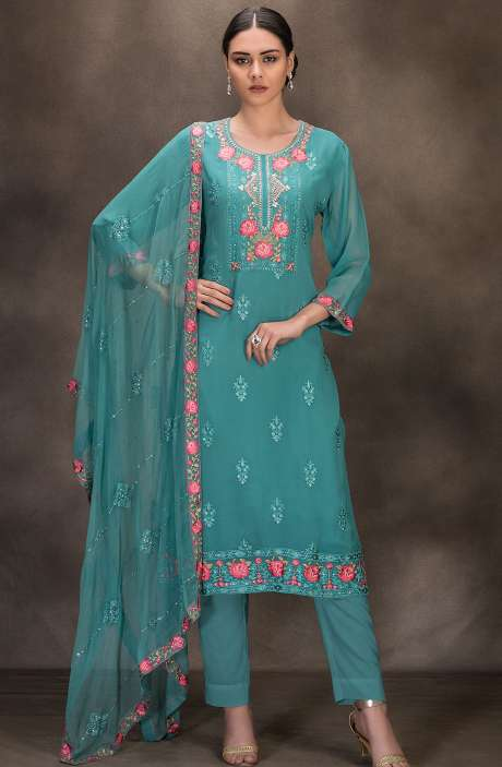 Designer Georgette Embroidered Salwar Kameez In Firozi - 131-RC4060A