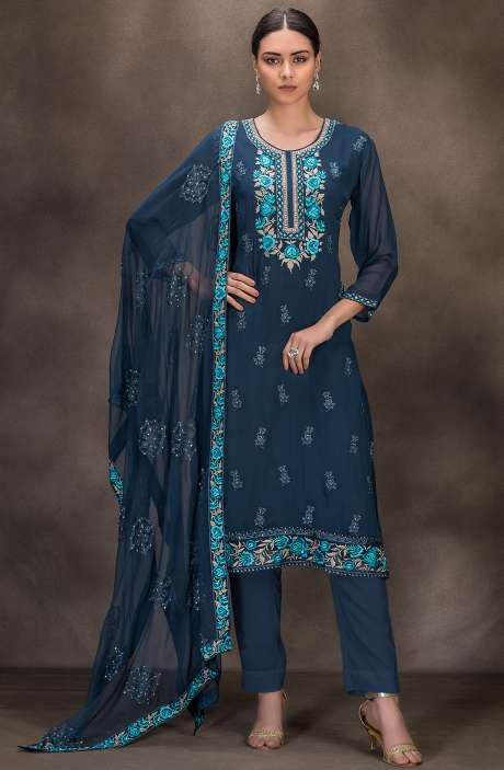 Designer Georgette Embroidered Salwar Kameez In Grayish Blue - 131-RC4060B