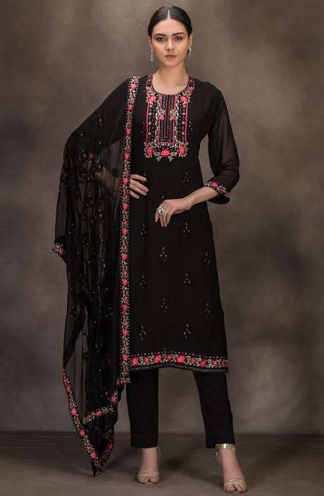Designer Georgette Embroidered Salwar Kameez In Black - 131-RC4060D