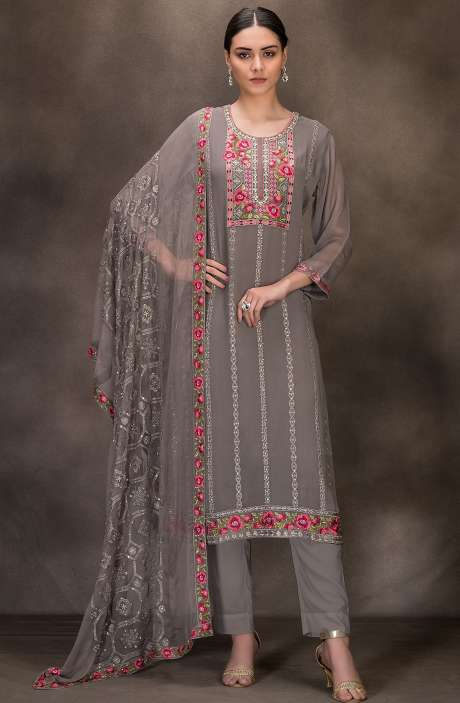 Designer Georgette Embroidered Salwar Kameez In Grey - 131-RC4060E