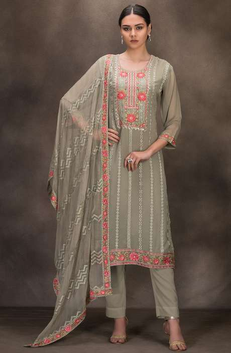 Designer Georgette Embroidered Salwar Kameez In Mehndi Green - 131-RC4060F
