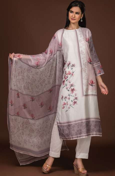 Beautiful Semi-stitched Digital Print Pure Muslin Cotton Suit Set In Cream with Chiffon Dupatta - 131-ST303