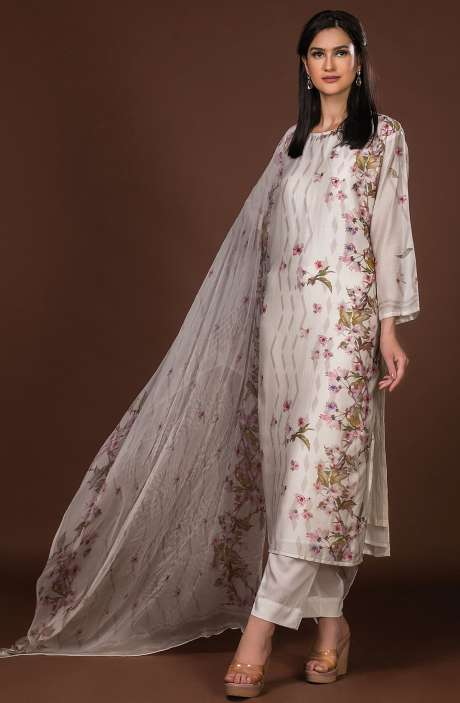 Beautiful Semi-stitched Digital Print Pure Muslin Cotton Suit Set In Cream with Chiffon Dupatta - 131-ST306A
