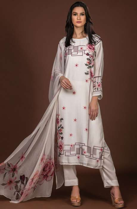 Beautiful Semi-stitched Digital Print Pure Muslin Cotton Suit Set In Cream with Chiffon Dupatta - 131-ST308
