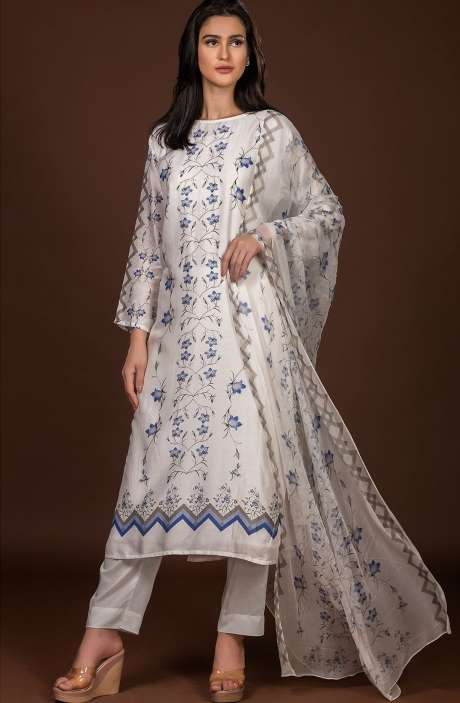 Beautiful Semi-stitched Digital Print Pure Muslin Cotton Suit Set In Cream with Chiffon Dupatta - 131-ST317A