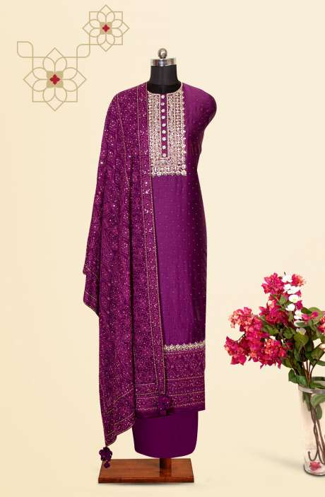 Silk Designer Salwar Kameez In Purple with Beautiful Georgette Dupatta - 131-VF12D