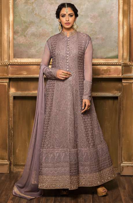 Designer Heavy Grey Georgette Anarkali Dress - 131-VF9174-R