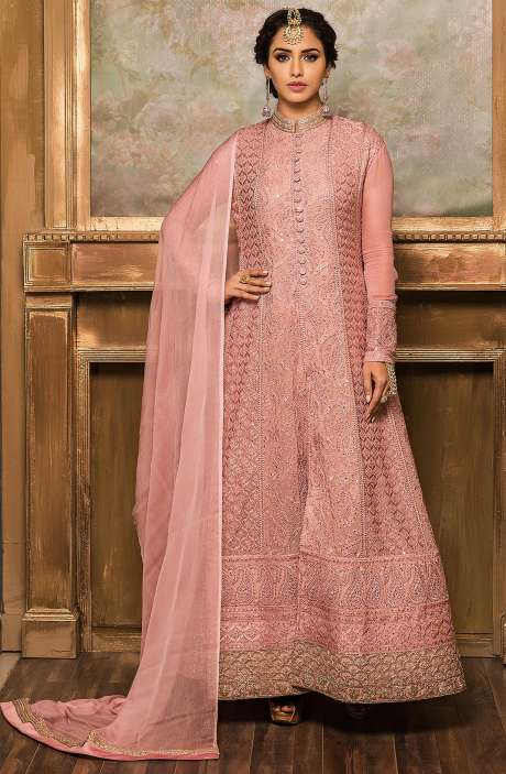 Designer Pink Georgette Anarkali Dress - 131-VF9174A