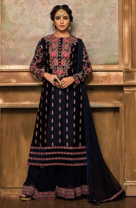Designer Ready-to-Wear Embellished Silk Sharara Suit In Blue - 131-VF9180