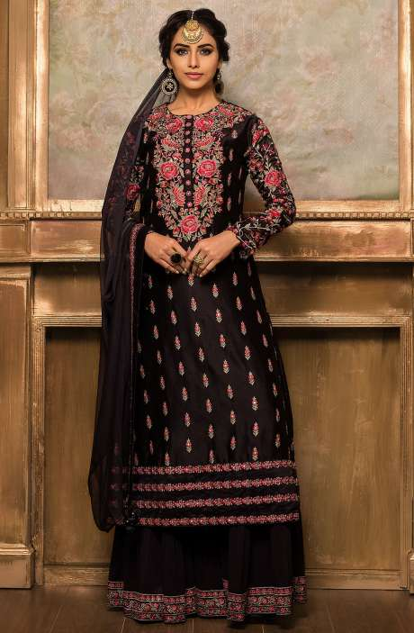 Designer Ready-to-Wear Embellished Silk Sharara Suit In Black - 131-VF9180A