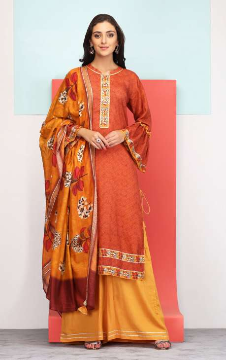 Ready to Wear Digital Print with Embellished Coffee and Mustard Modal Cotton Salwar Suit - 245-2057