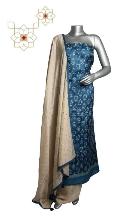 Tussar Silk Blue & Cream Printed Unstitched Salwar Kameez - 220-J7927