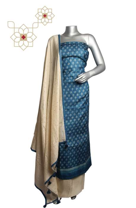 Tussar Silk Blue & Cream Printed Unstitched Salwar Suit - 220-J7927A