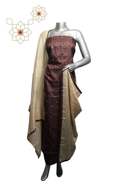 Tussar Silk Multicolor & Chocolate Brown Digital Printed Unstitched Salwar Kameez - 220-R3922