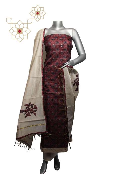 Tussar Silk Multi & Cream Digital Printed Unstitched Salwar Suit - 220-S3099