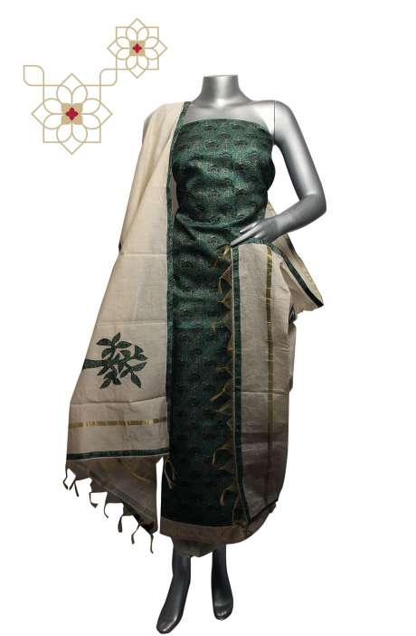 Tussar Silk Bottle Green & Cream Digital Printed Unstitched Salwar Suit - 220-S3099B