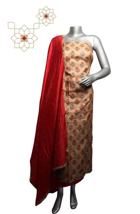 Tussar Silk Beige & Red Digital Printed Unstitched Salwar Kameez - 220-S3176