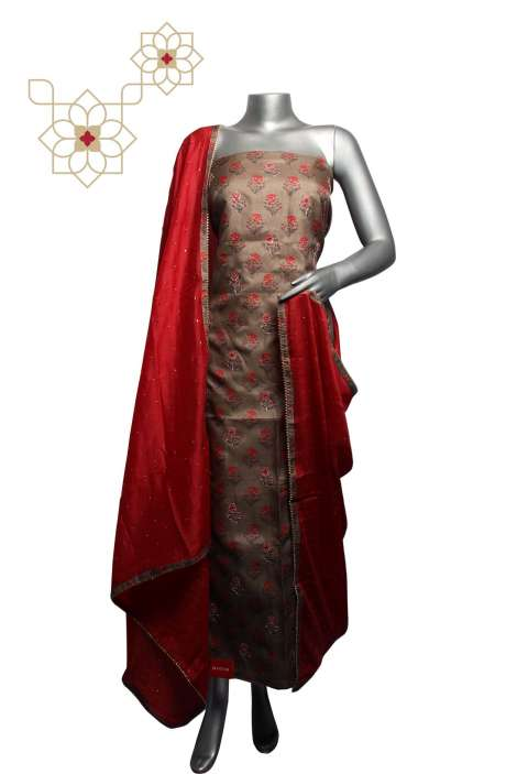 Tussar Silk Brown & Red Digital Printed Unstitched Salwar Kameez - 220-S3176A