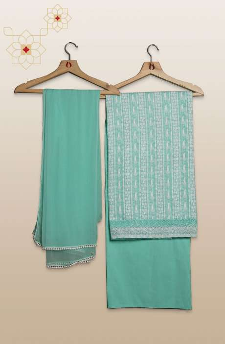 Kota Thread Embroidery with Cut Work Sea Green Unstitched Salwar Suit Sets - 245-11272
