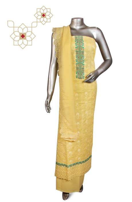Beautiful Embroidered Cotton Jacquard Salwar Suit In Yellow with Chiffon - 245-11785