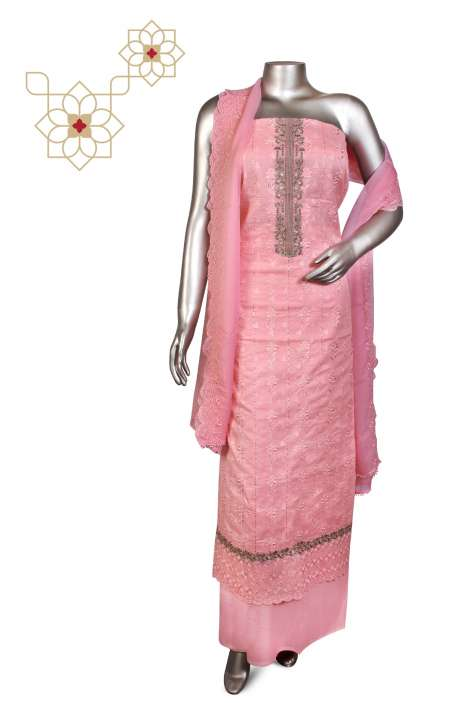 Beautiful Embroidered Cotton Jacquard Salwar Suit In Baby Pink with Chiffon Dupatta - 245-11785A